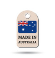 hang tag made in australia with flag on white vector image vector image