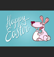 Happy Easter Typographical Background With Bunny vector image