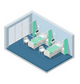 isometric hospital bed empty bed on hospital ward vector image vector image