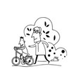 kids learn bike with grandpa cartoon vector image