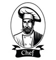 monochrome with chef in frame vector image vector image