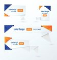 Origami 2 color style label set blue and orange vector image vector image