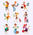 people tourist with map travelers searching vector image vector image