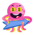 pink octopus with a direction sign on white vector image vector image
