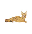 portrait of lying serval graceful wild cat with vector image vector image