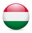 Round glossy icon of hungary vector image vector image