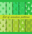 set of christmas seamless patterns fir trees vector image vector image