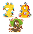 set of numbers with number of animals from 7 to 9 vector image