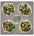 set of soccer cartoon stickers vector image