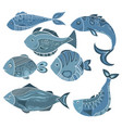 set of stylized fish a collection vector image vector image