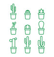 set with green line isolatet icons of cactus vector image vector image
