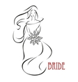 Shy bride with flowers invitation template vector image vector image