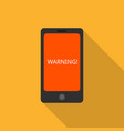 smartphone warning icon flat style vector image vector image