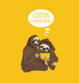 the story of one sloth love wedding honeymoon vector image vector image