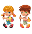 Trekking boy and girl vector image vector image
