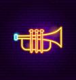 trumpet neon sign vector image