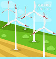 wind power turbines and windmills vector image