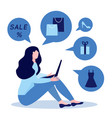 young woman siiting with laptop and purchasing vector image vector image