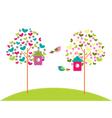 birdhouses on trees vector image