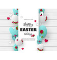 3d paper cur easter holiday design vector image