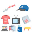 advertising set icons in cartoon style big vector image vector image