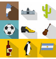argentina travel icon set flat style vector image vector image