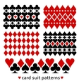 Background patterns with card suits vector image