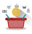 basket e-commerce shop online design vector image vector image