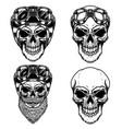 biker skulls in racer helmet for logo label sign vector image