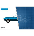 blueprint of retro car american vector image vector image