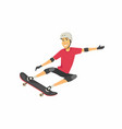boy on skateboard - cartoon people character vector image