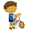 Boy with bicycle vector image vector image