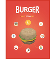 Burger fast foods set polygon style vector image vector image