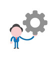 businessman character holding gear vector image vector image