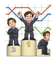 Businessmen are standing on pedestal 4 vector image