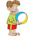 Cartoon boy holding a beach ball vector image vector image