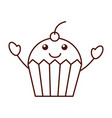 cartoon cupcake sweet character icon vector image