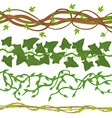 cartoon green wild lianas branches set vector image vector image
