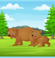 cartoon mother and babear in jungle vector image vector image