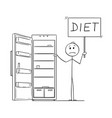 cartoon of hungry man holding diet sign and empty vector image vector image