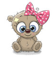 cute cartoon teddy bear girl vector image vector image