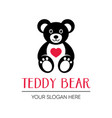 cute teddy bear logo design template vector image