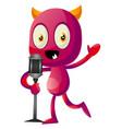 devil speak on microphone on white background vector image vector image