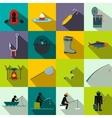 Fishing flat icons set vector image