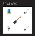 flat icon dacha set of shovel grass-cutter spade vector image vector image