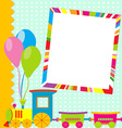 Greeting card with photo frame and cartoon train vector image vector image