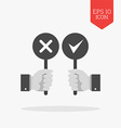 Hands holding right and wrong signs icon Flat vector image vector image