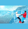 happy couple in mountains vector image vector image