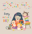 happy mother with her children vector image vector image