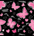 heart butterfly seamless pattern valentine day vector image